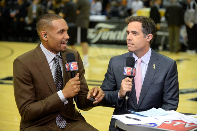 NBA analysts Grant Hill and Matt Winer before the game between the Miami Heat and San Antonio Spurs during Game Five of the 2014 NBA Finals at AT&T Center on June 15, 2014 in San Antonio, Texas. NOTE TO USER: User expressly acknowledges and agrees that, by downloading and/or using this photograph, user is consenting to the terms and conditions of the Getty Images License Agreement. Mandatory Copyright Notice: Copyright 2014 NBAE (Getty)