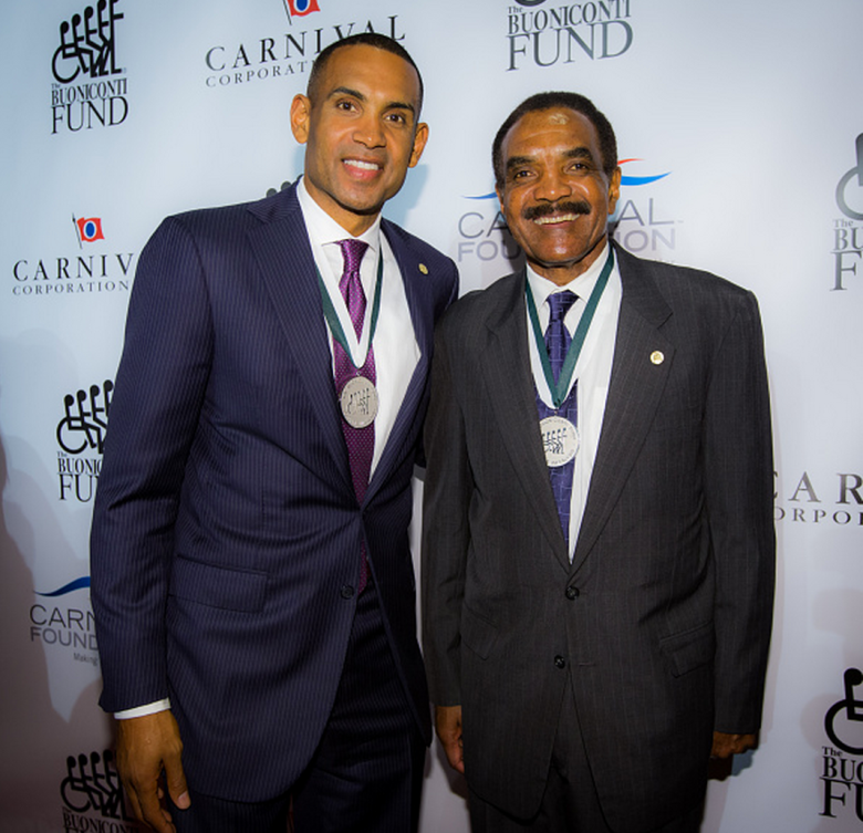 Grant Hill and Calvin Hill attend the 29th Annual Great Sports Legends Dinner to benefit The Buoniconti Fund to Cure Paralysis at the Waldorf Astoria on September 29, 2014 at New York City New York. NOTE TO USER: User expressly acknowledges and agrees that, by downloading and/or using this photograph, user is consenting to the terms and conditions of the Getty Images License Agreement. Mandatory Copyright Notice: Copyright 2014 NBAE (Getty)