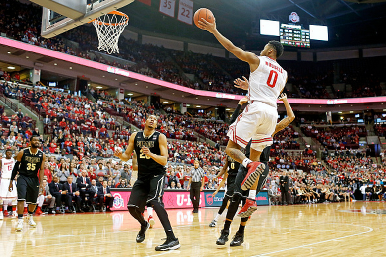 D'Angelo Russell #0 of the Ohio State Buckeyes shoots the ball during the game against the Purdue Boilermakers at Value City Arena on March 1, 2015 in Columbus, Ohio. Ohio State defeated Purdue 65-61. (Getty)