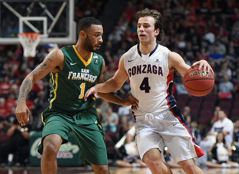 Kevin Pangos #4 of the Gonzaga Bulldogs drives against Corey Hilliard #1 of the San Francisco Dons during a quarterfinal game of the West Coast Conference Basketball tournament at the Orleans Arena on March 7, 2015 in Las Vegas, Nevada. Gonzaga won 81-72. (Getty)