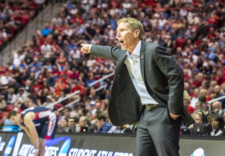 Coach Mark Few of the Gonzaga Bulldogs signals a play in the third round of the 2014 NCAA Men's Basketball Tournament against the Gonzaga Bulldogs at Viejas Arena on March 23, 2014 in San Diego, California. (Getty)