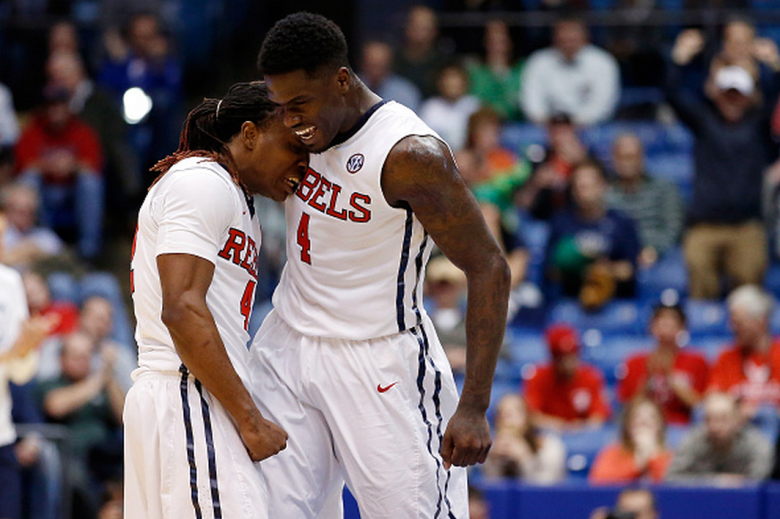 M.J. Rhett #4 celebrates with Stefan Moody #42 of the Mississippi Rebels against the Brigham Young Cougars during the first round of the 2015 NCAA Men's Basketball Tournament at UD Arena on March 17, 2015 in Dayton, Ohio. (Getty)