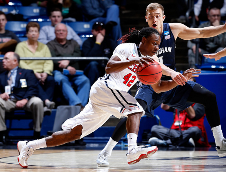 Stefan Moody #42 of the Mississippi Rebels drives to the basket against Chase Fischer #1 of the Brigham Young Cougars during the first round of the 2015 NCAA Men's Basketball Tournament at UD Arena on March 17, 2015 in Dayton, Ohio. (Getty)