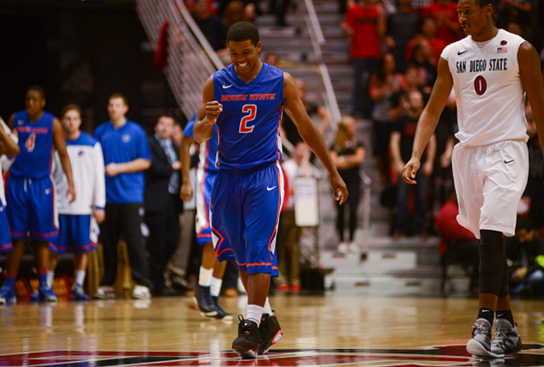 Derrick Marks #2 of the Boise State Broncos celebrates after a play in the second half of the game against the San Diego State Aztecs at Viejas Arena on February 28, 2015 in San Diego, California. (Getty)
