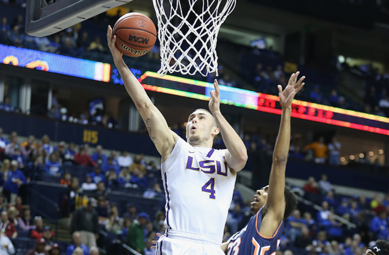 Keith Hornsby #4 of the LSU Tigers shoots the ball against the Auburn Tigers during the quaterfinals of the SEC Basketball Tournament at Bridgestone Arena on March 13, 2015 in Nashville, Tennessee. (Getty)