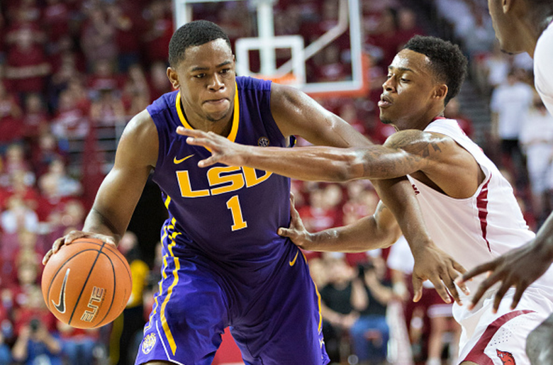 Jarell Martin #1 of the LSU Tigers looks to drive to the basket against Anthlon Bell #5 of the Arkansas Razorbacks at Bud Walton Arena on March 7, 2015 in Fayetteville, Arkansas. The Tigers defeated the Razorbacks 81-78. (Getty)