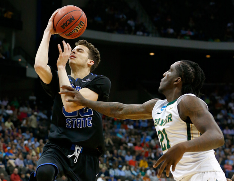 R.J. Hunter #22 of the Georgia State Panthers has the ball knocked out of his hands by Taurean Prince #21 of the Baylor Bears after the ball was dead in the second half during the second round of the 2015 NCAA Men's Basketball Tournament at Jacksonville Veterans Memorial Arena on March 19, 2015 in Jacksonville, Florida. (Getty)