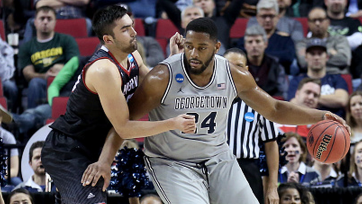 Joshua Smith #24 of the Georgetown Hoyas handles the ball against Venky Jois #55 of the Eastern Washington Eagles in the second half during the second round of the 2015 NCAA Men's Basketball Tournament at Moda Center on March 19, 2015 in Portland, Oregon. (Getty)
