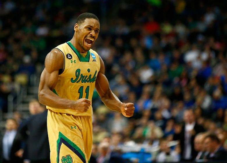 Notre Dame's Demetrius Jackson celebrates a turnover against the Butler Bulldogs in the second half during the third round of the 2015 NCAA Men's Basketball Tournament. (Getty)
