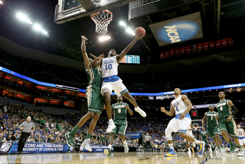 UCLA's Isaac Hamilton drives to the basket against the UAB Blazers in the 2015 NCAA Men's Basketball Tournament. (Getty)