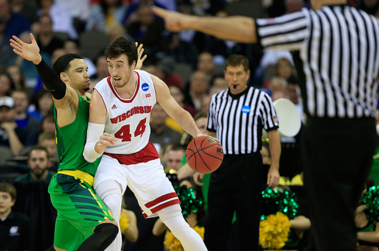 Wisconsin's Frank Kaminsky is defended by Oregon's Dillon Brooks during the 2015 NCAA Men's Basketball Tournament. (Getty)