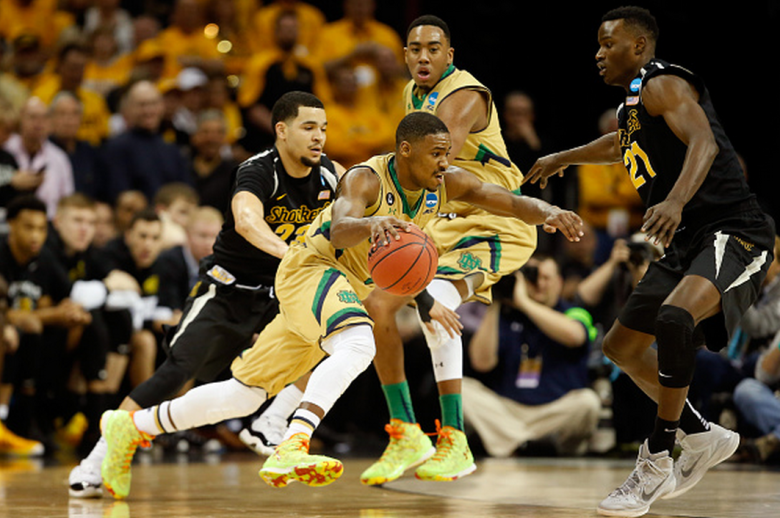 Notre Dame's Demetrius Jackson handles the ball against Wichita State's Fred VanVleet in the 2015 NCAA Men's Basketball Tournament. (Getty)