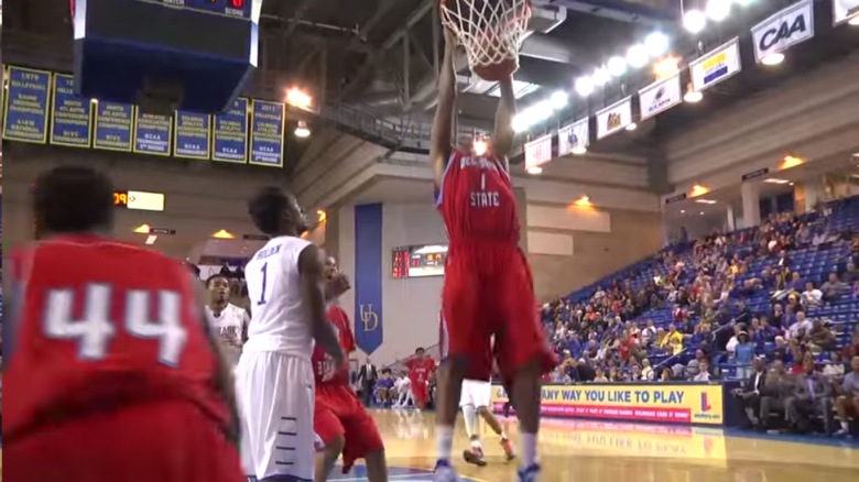 Delaware State's Kendall Gray put up 33 points and 30 rebounds in Thursday night's game. (YouTube)
