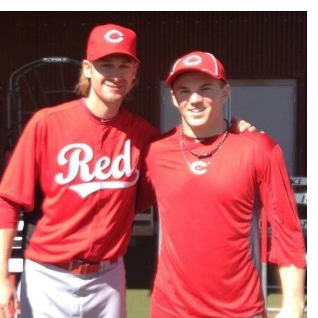 Tanner Rahier, right, with Bronson Arroyo. (Twitter)