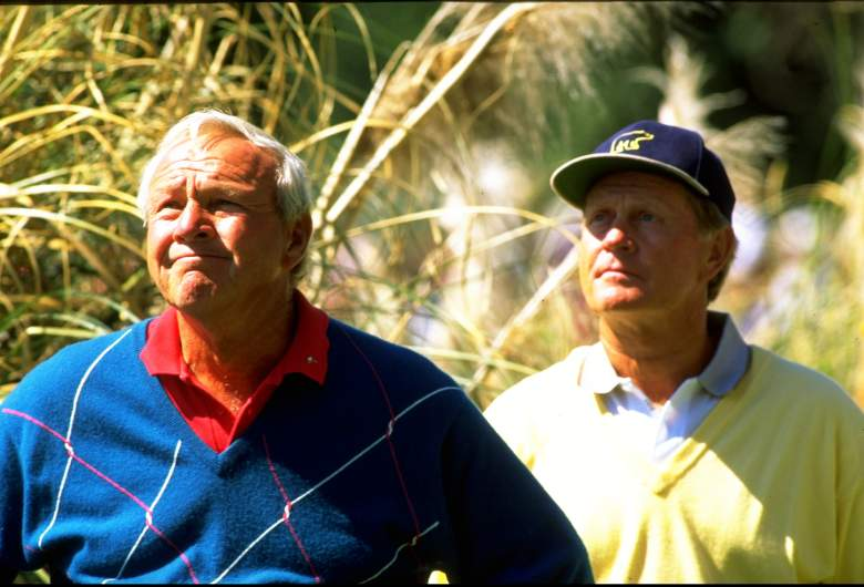 Arnold Palmer (left) and Jack Nicklaus both have wire-to-wire wins at the Masters. (Getty)