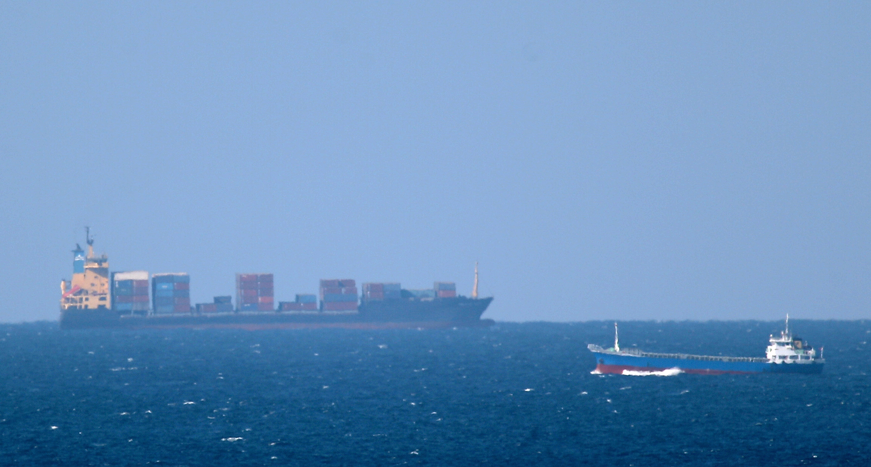 Cargo ships in the Strait of Hormuz in a file photo. (Getty)