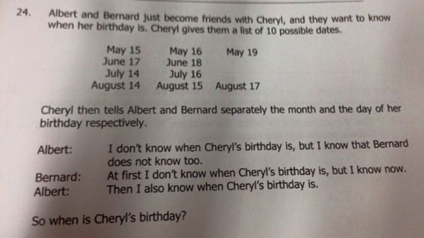 The question as it appeared in the Singapore and Asian Schools Math Olympiad test paper. (Facebook)