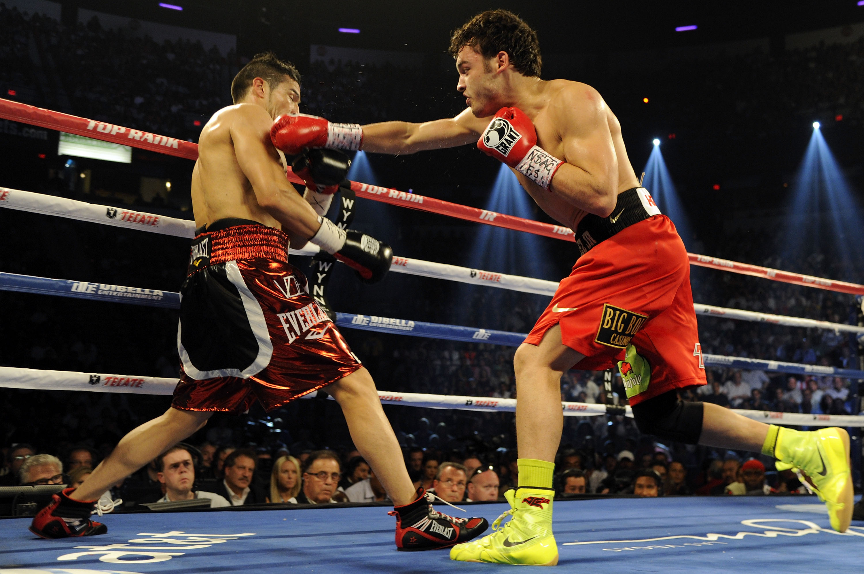 Cesar Chavez Jr. exchanges punches with Sergio Martinez in 2012. (Getty)