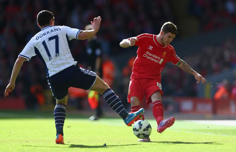 Alberto Moreno (R) has made 24 EPL appearances for Liverpool this year. (Getty)