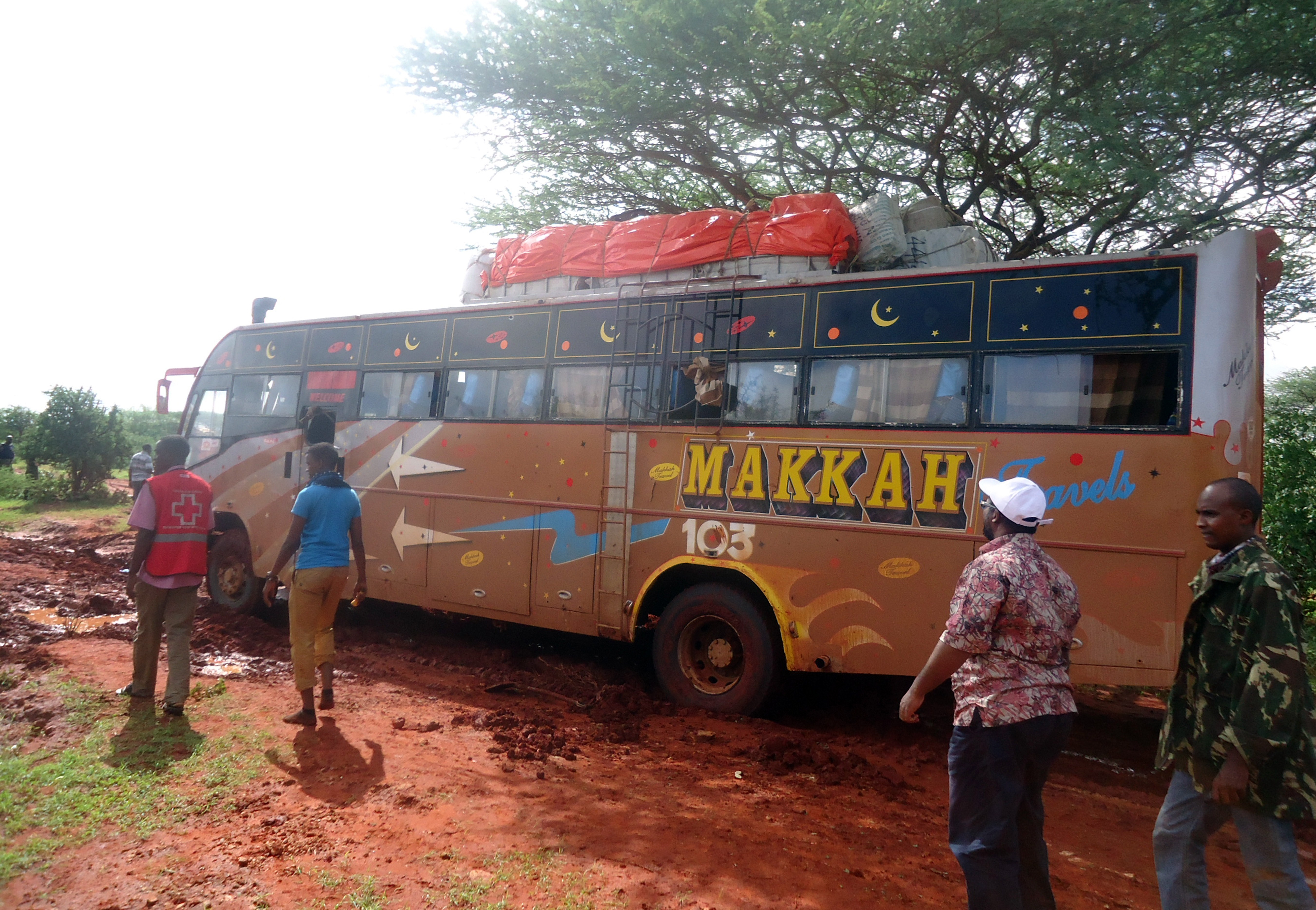 A picture taken on November 22, 2014 shows the bus on which was carried out a dawn attack and 28 non-Muslim passengers were singled out from 60 and executed. (Getty)