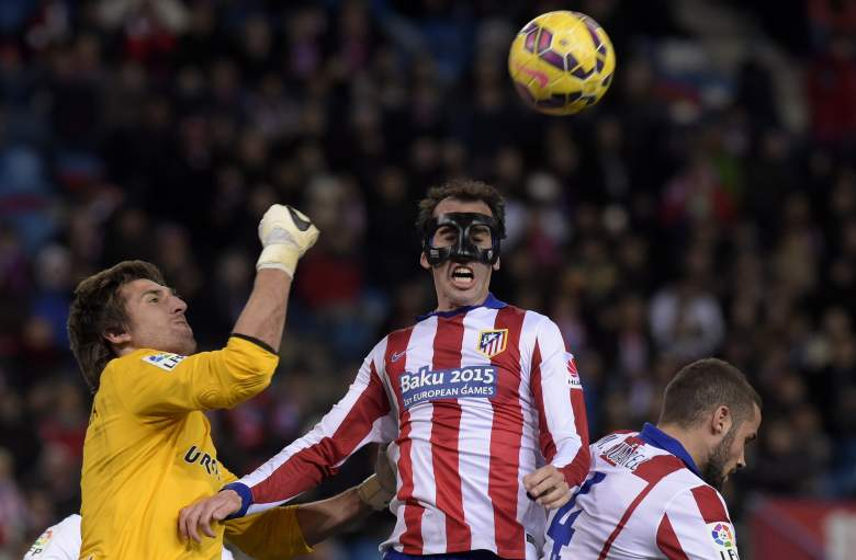 Atletico defender Diego Godin (R) will be tasked with trying to stop a red-hot Real Madrid attack. Getty