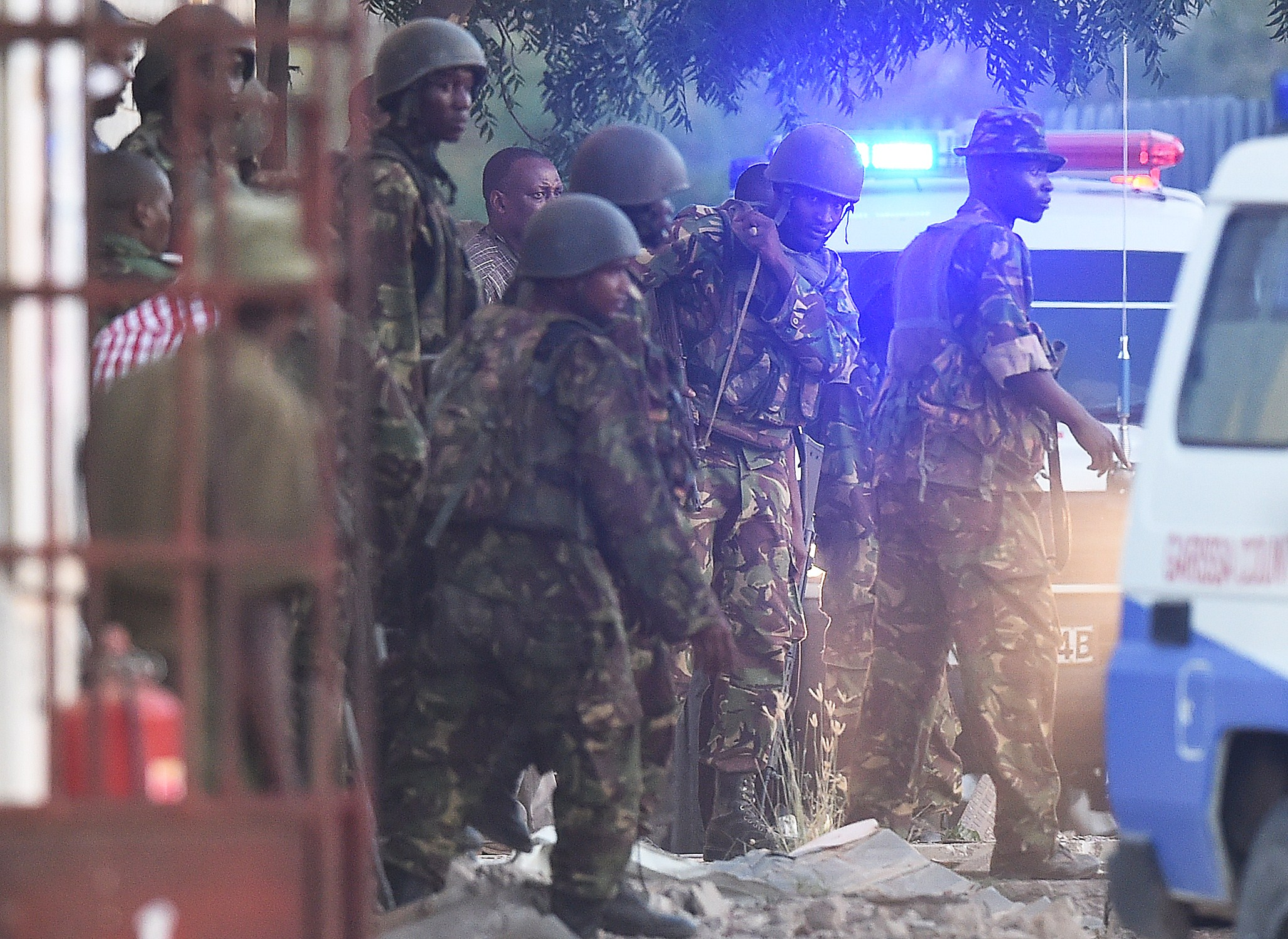 Kenya Defense Forces are pictured after they ended a siege by gunmen in the university on April 2, 2015 in the northeastern town of Garissa.  (Getty)