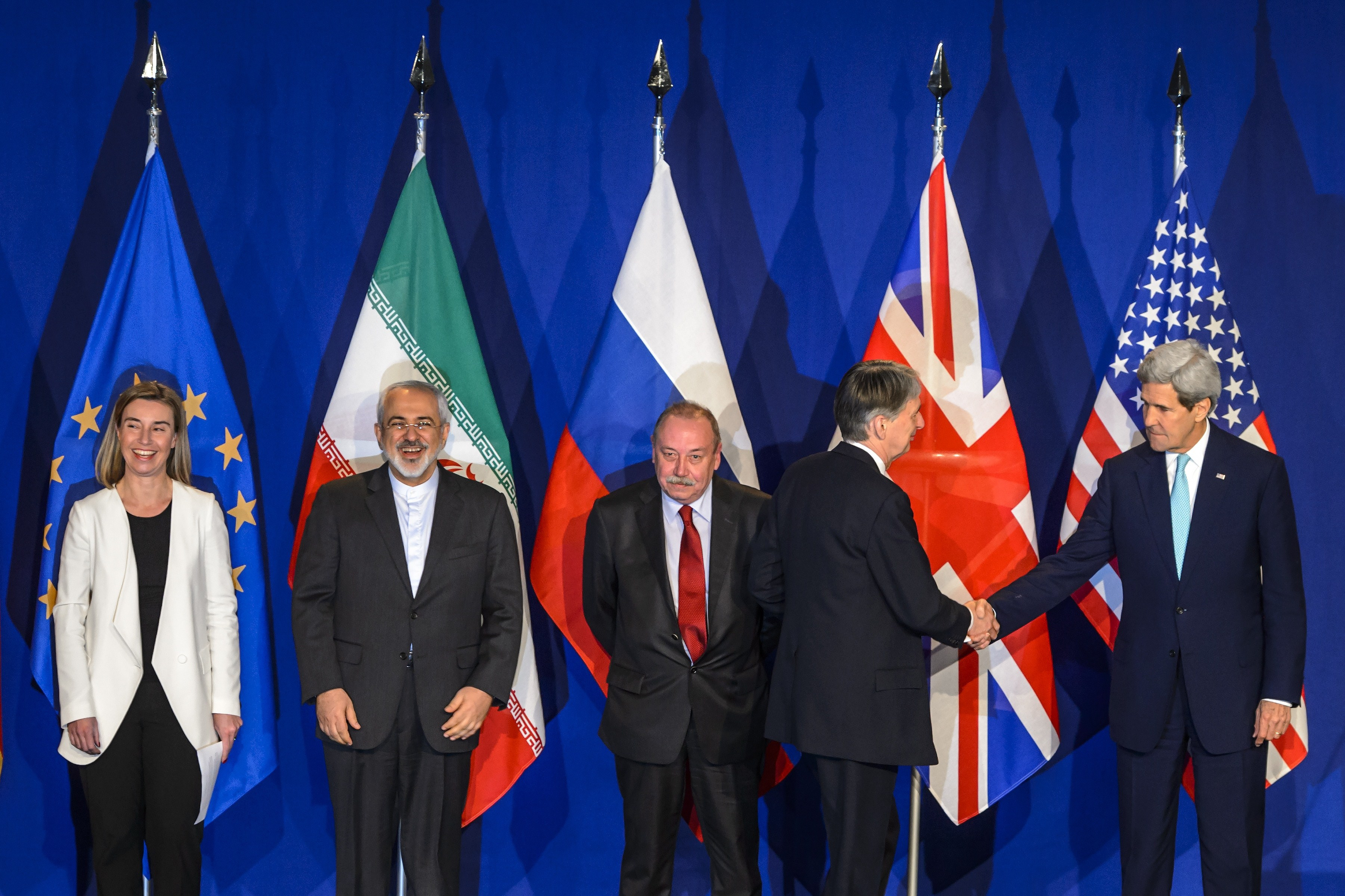 From left, EU's foreign policy chief Federica Mogherini, Iranian Foreign Minister Mohammad Javad Zarif, Deputy director of the Department for Nonproliferation and Arms Control of the Ministry of Foreign Affairs of Russia Alexey Karpov, British Foreign Secretary Philip Hammond and US Secretary of State John Kerry attend the announcement of an agreement on Iran nuclear talks on April 2, 2015 at the The Swiss Federal Institutes of Technology. (Getty)