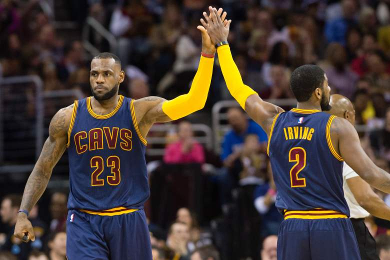 LeBron James (23) and Kyrie Irving lead the Cavaliers vs. the Celtics in their best-of-7 NBA Playoffs series. (Getty)