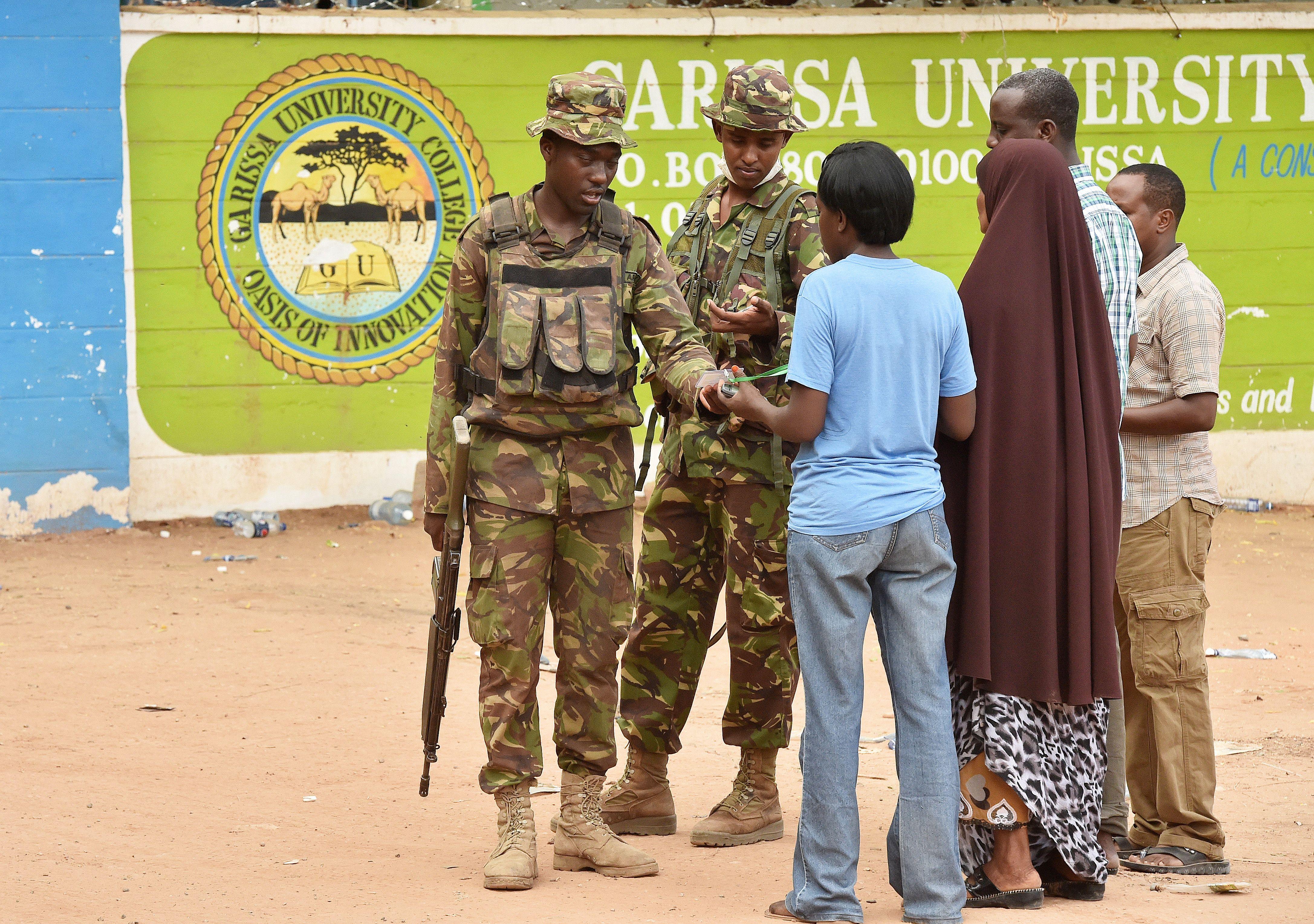 Kenya Defense forces soldiers search and question people at the front entrance of Moi University in Garissa on April 3, 2015.  (Getty)