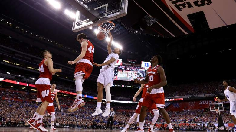 Jahlil Okafor dunks for two points Monday night in the National Championship game. (Getty)