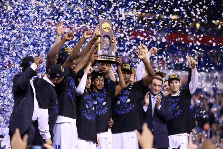 Duke celebrates its first National Championship since 2010 and fifth overall. (Getty)