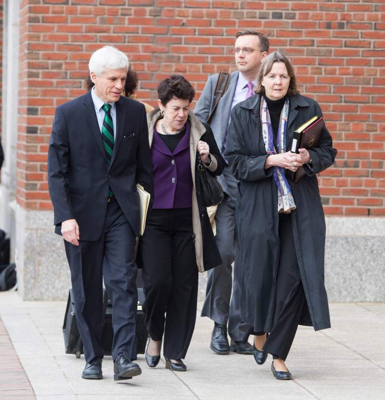 Members of Tsarnaev's defense team arrive in court (Getty)