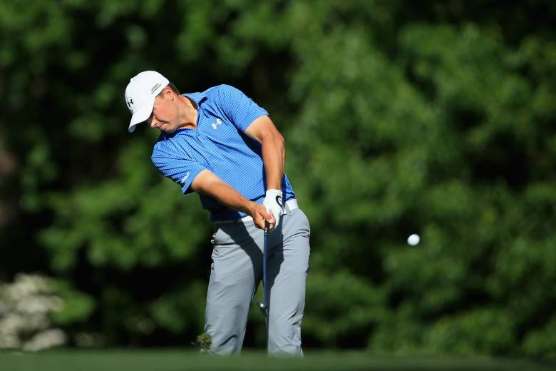 Jordan Spieth is atop the Masters leaderboard for the third straight day. (Getty)
