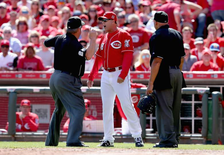 Cincinnati Reds manager Bryan Price arguing with the umpires in an April 12th game against the St. Louis Cardinals. (Getty)