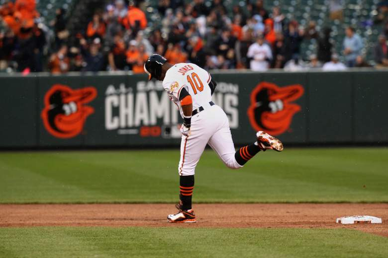The Orioles' Adam Jones rounds the bases after a Tuesday home run. (Getty)