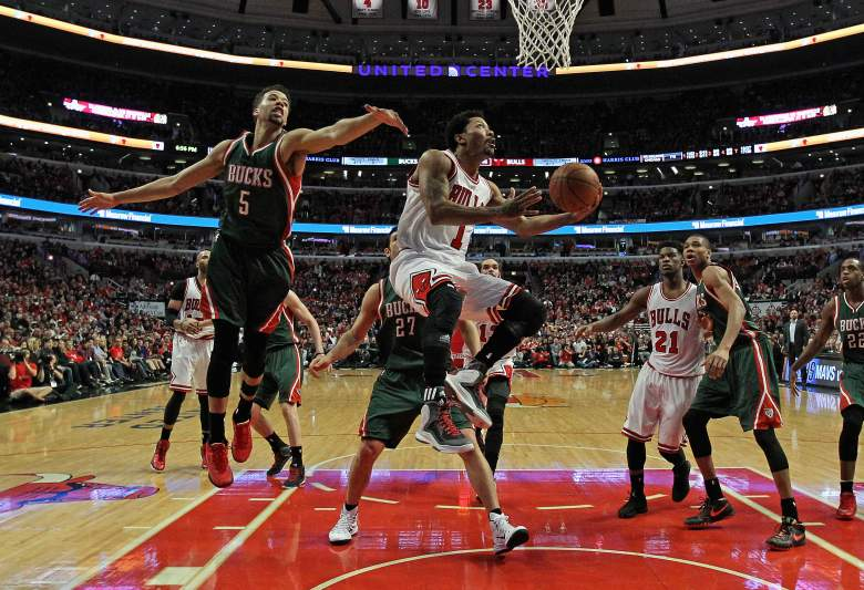 Derrick Rose goes up for a shot Saturday in the Bulls' playoff win over the Bucks. (Getty)