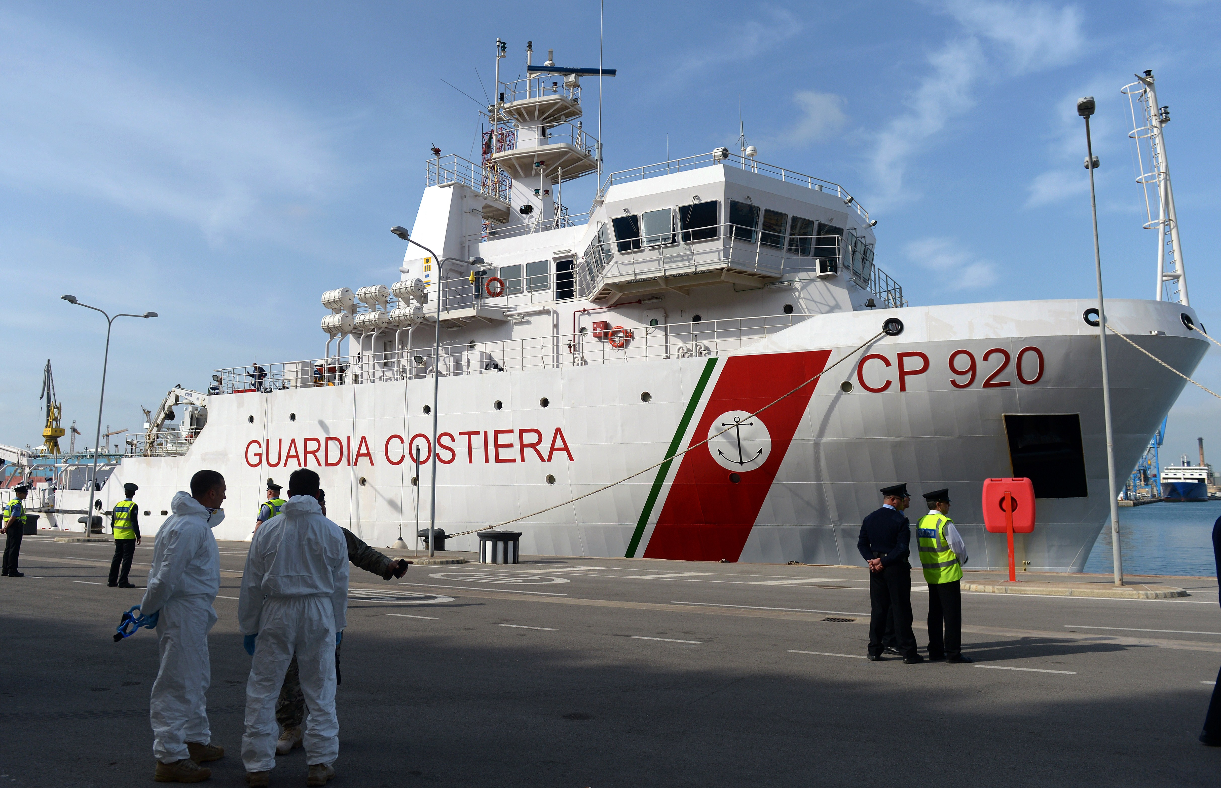 Italian Coast Guard vessel Bruno Gregoretti sits in the dock at Boiler Wharf, Senglea in Malta on April 20, 2015, after bringing survivors and the bodies of victims of a boat capsize.  (Getty)