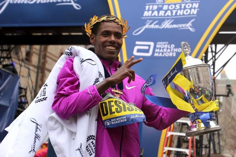 Lelisa Desisa of Ethiopia celebrates his Boston Marathon victory on Monday. (Getty)