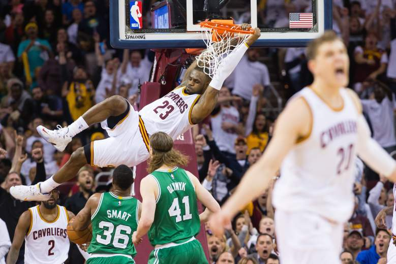 LeBron James dunks for 2 points in the Cavaliers' Game 2 victory over the Celtics. (Getty)