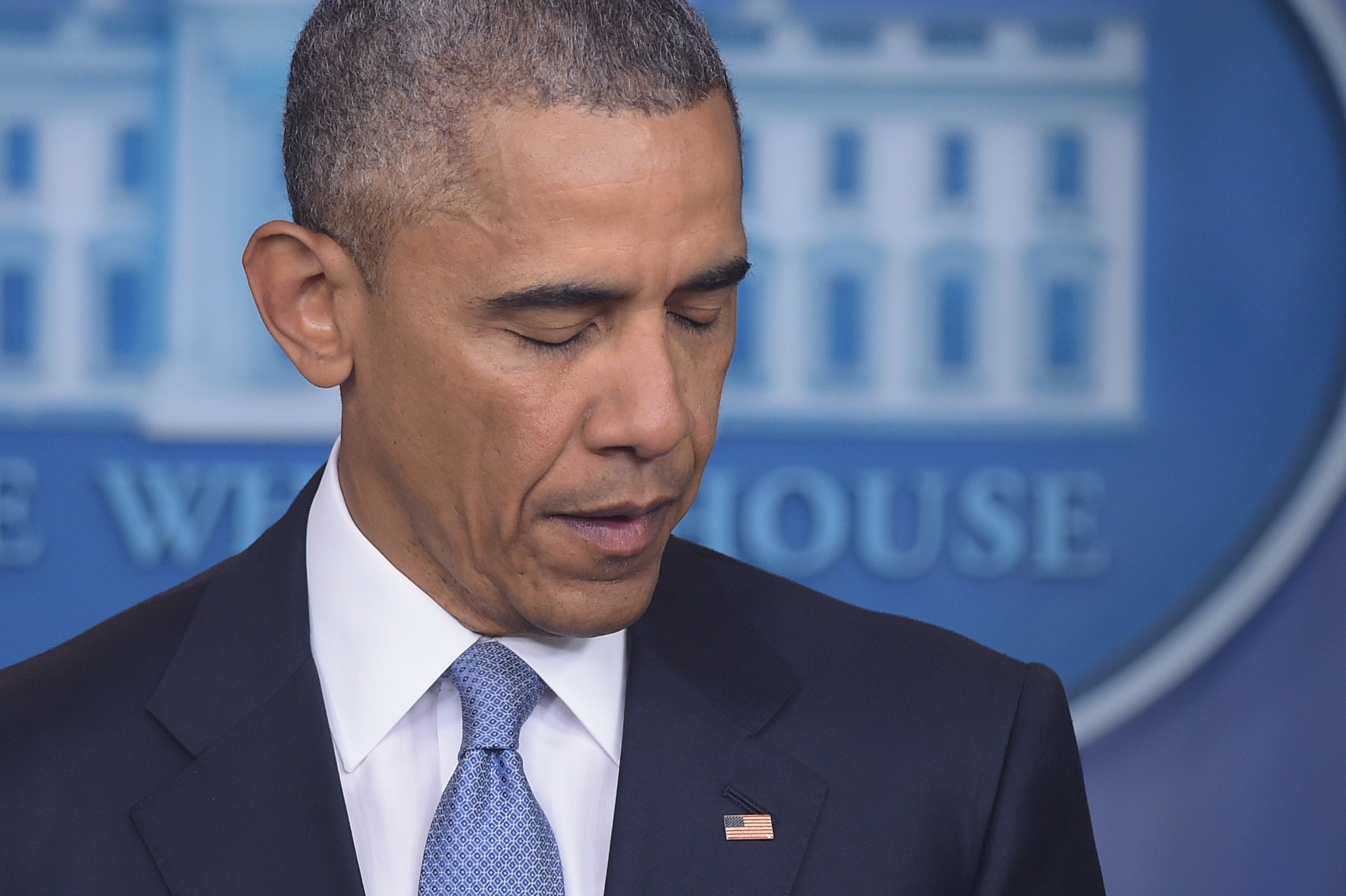 President Barack Obama talks at a press conference about the death of Warren Weinstein.