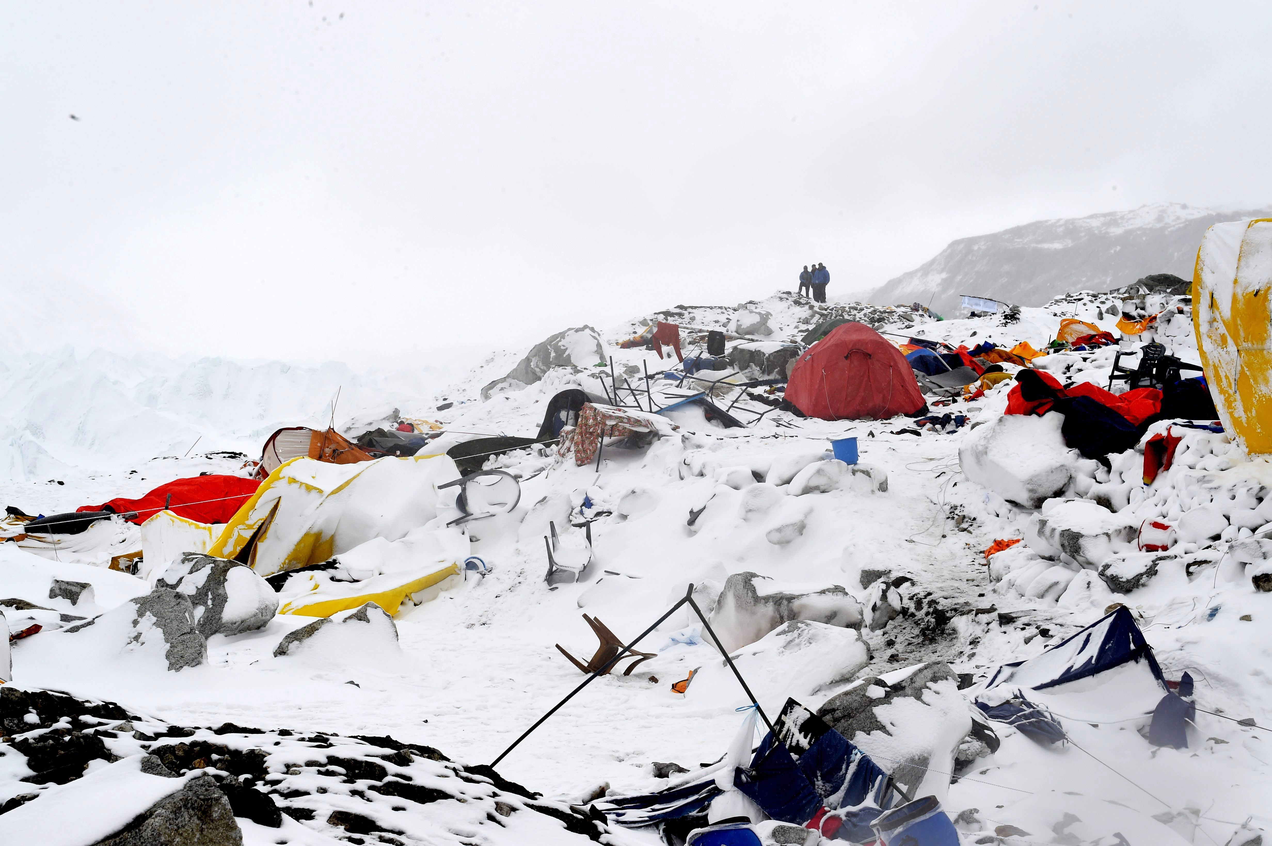 The Mount Everest base camp was flattened by an avalanche that killed 17 people, including three Americans, following a 7.8 magnitude earthquake in Nepal. (Getty)