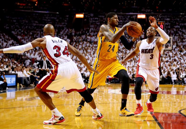 Paul George playing in the 2014 Eastern Conference finals for Indiana against Miami. (Getty)