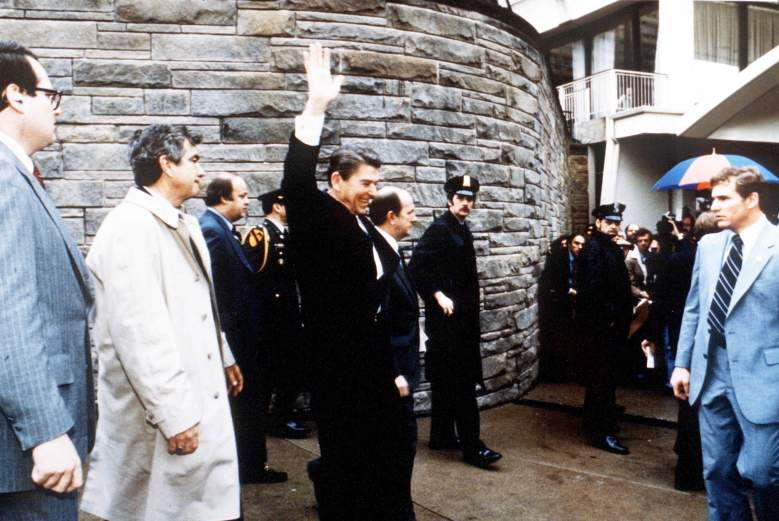 President Reagan moments before the assassination attempt (Getty)