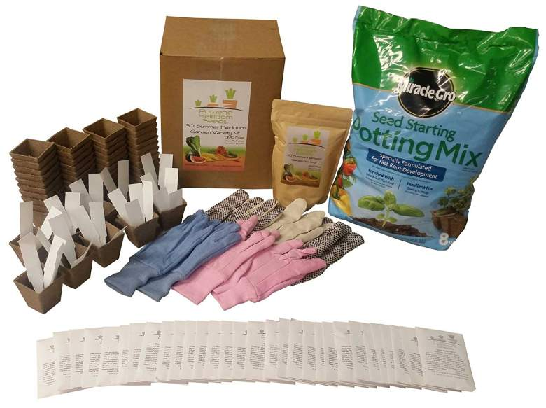 Heirloom Seeds Vegetable Garden Ultimate Starter or Survival Kit with Potting Soil, Jiffy Pots, Gloves and Heirloomseeds - All American Grown Seeds
