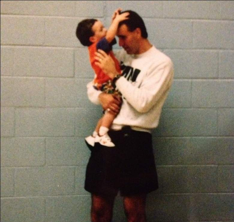 Wisconsin's Frank Kaminsky as a toddler with his father. (Instagram/fskpart3)