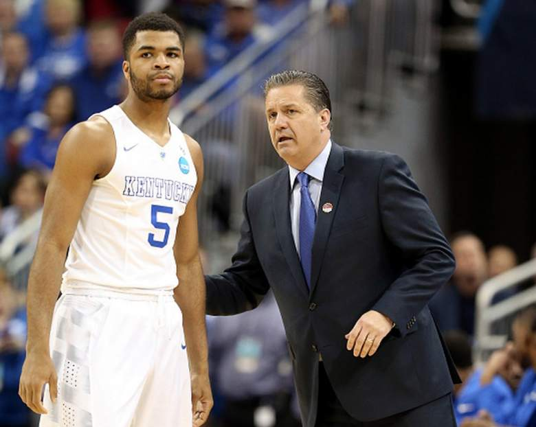 Kentucky head coach John Calipari talks with Andrew Harrison during the 2015 NCAA men's basketball tournament. (Getty)