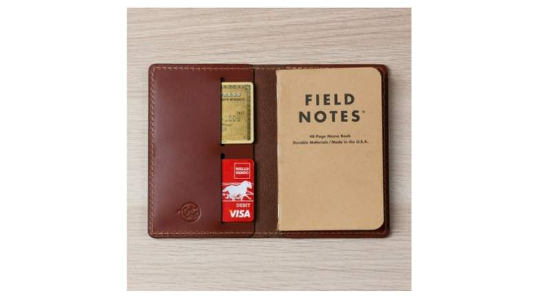 image of coal creek leather notebook cover with field notes