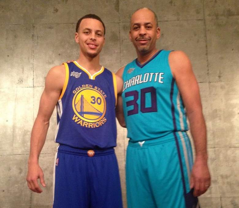 Golden State Warriors Stephen Curry with dad Dell Curry. (Instagram/wardell30)