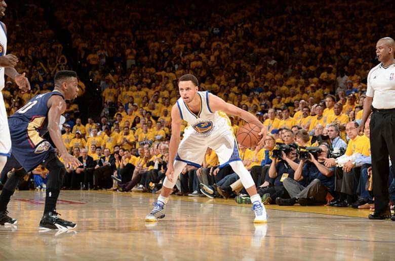Golden State Warriors Stephen Curry against the New Orleans Pelicans in the NBA Playoffs. (Getty)