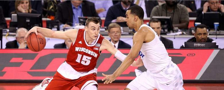 Wisconsin's Sam Dekker drives against Kentucky in the Final Four game of the 2015 NCAA men's basketball tournament. (Getty)